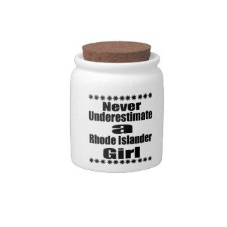 Never Underestimate  Rhode Islander Girlfriend Candy Jar