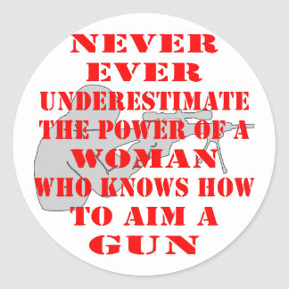 Never Underestimate The Power Of A Woman Classic Round Sticker