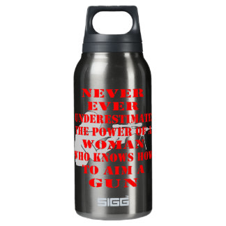 Never Underestimate The Power Of A Woman Who Knows 10 Oz Insulated SIGG Thermos Water Bottle