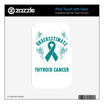 Never Underestimate The Strength Of Thyroid Cancer iPod Touch 4G Decal