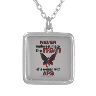 Never Underestimate...Woman/Butterfly...APS Silver Plated Necklace