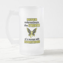 Never Underestimate...Woman...Endometriosis Frosted Glass Beer Mug