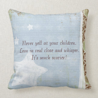 Never Yell at Children Blue Chocolate Throw Pillow