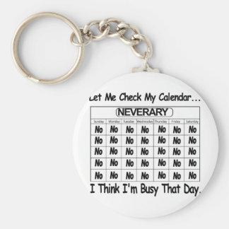 Neverary Calendar Busy Basic Round Button Keychain