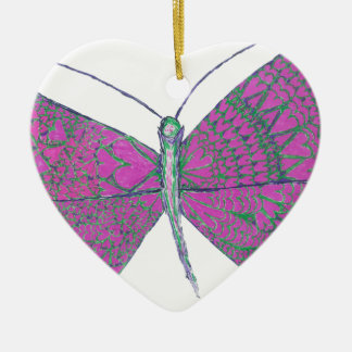 Neverland's Heart Butterfly One Ceramic Ornament