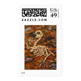 Nevermore Raven Bird Skeleton Bones Art Postage
