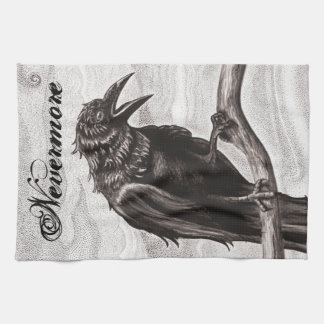 Nevermore Raven in the Mist Kitchen Towel Kitchen Towels