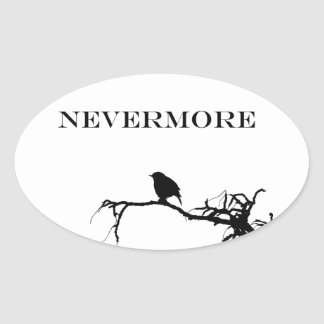 Nevermore Raven Poem Edgar Allan Poe Design Oval Sticker