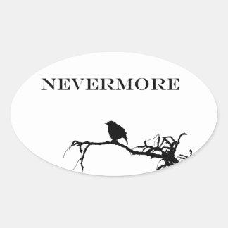 Nevermore Raven Poem Edgar Allan Poe Design Oval Sticker