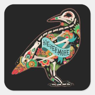 Nevermore Sugar Skull Raven Square Sticker