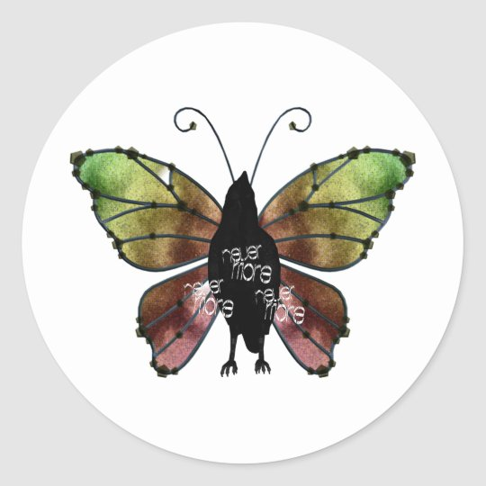 Nevermore x3 Butterfly Raven Classic Round Sticker