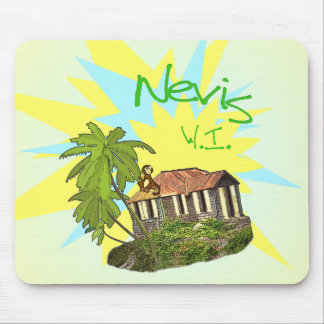 Nevis West Indies House, Palm and Monkey Mouse Pad