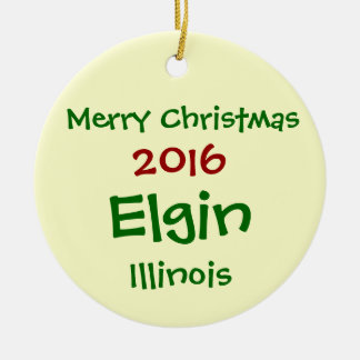 NEW 2016 ELGIN ILLINOIS MERRY CHRISTMAS ORNAMENT