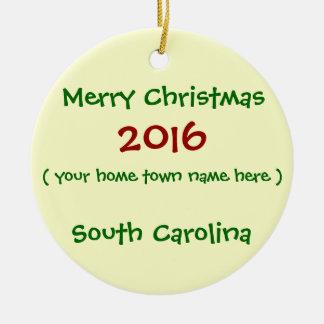 NEW 2016 SOUTH CAROLINA MERRY CHRISTMAS ORNAMENT