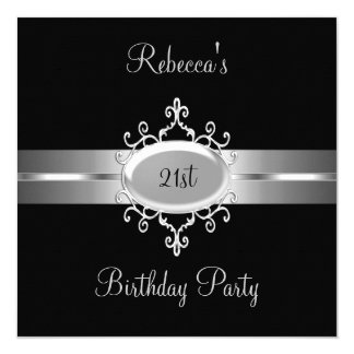 NEW 21st Birthday Party Black Silver 5.25x5.25 Square Paper Invitation Card