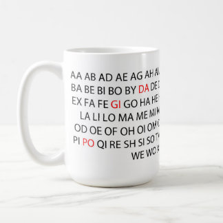 """NEW """"2 Letter Words"""" Word Game Mug NEW WORDS ADDED"""