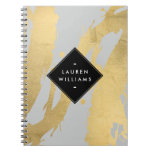 NEW Abstract Faux Gold Foil Brushstrokes on Gray Spiral Notebook