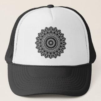 New Abstract Gray Plaid Mandala Trucker Hat