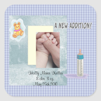New Addition Baby Square Sticker
