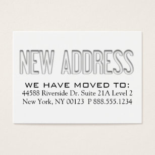 Address change notification business cards templates zazzle new address address change notification label business card colourmoves Images