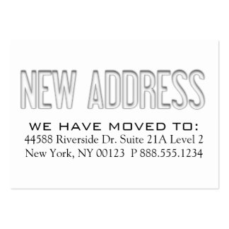 """""""New Address"""" Address Change Notification Label Large Business Cards (Pack Of 100)"""