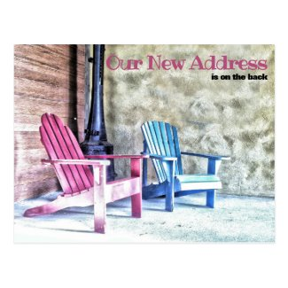 New Address Announcement Adirondack Chairs Porch Postcard