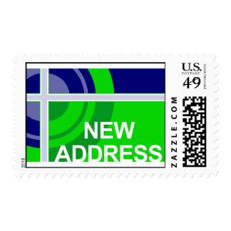new address announcement : bullseye postage stamp