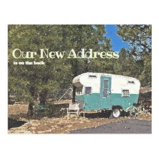 New Address Announcement Vintage Camping Trailer Postcard