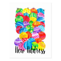 New Address Announcement , watercolor baubles Postcard