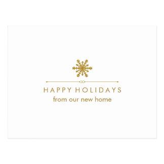 New Address at Christmas Glam Gold Snowflake Postcard