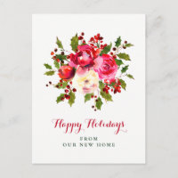 New Address at Christmas | Red and Green Flowers Holiday Postcard