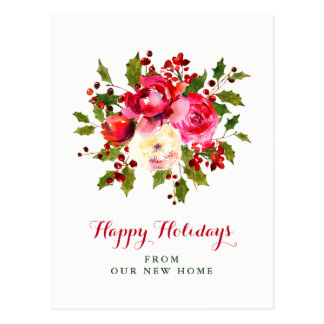 New Address at Christmas | Red and Green Flowers Postcard