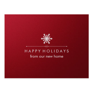 New Address at Christmas Red and Silver Snowflake Postcard