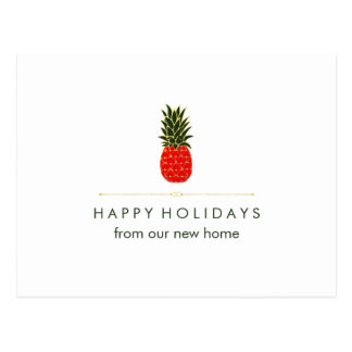 New Address at Christmas Red Green Gold Pineapple Postcard