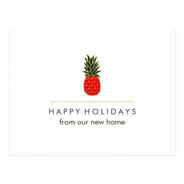 Christmas Themed New Address at Christmas Red Green Gold Pineapple Postcard
