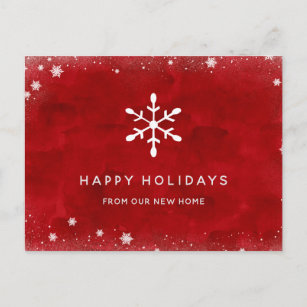New Address at Christmas | Red Watercolor and Snow Holiday Postcard