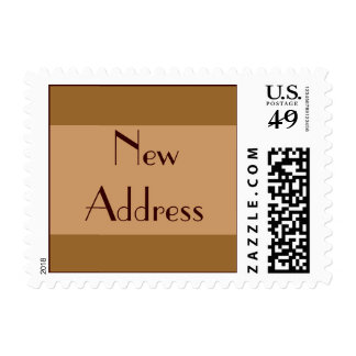 New Address Brown Tan Postage Stamps