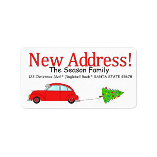 New Address Car and tree Christmas label