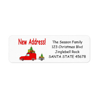 New Address Car And Tree Christmas Label at Zazzle