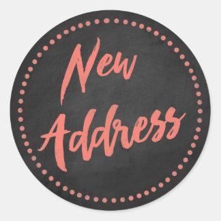 New Address Chalkboard Style Red Orange Classic Round Sticker