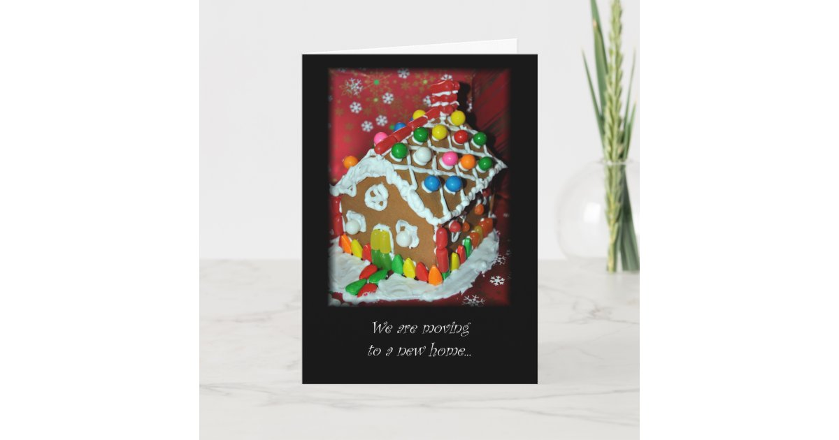 New Address Christmas Card Gingerbread House | Zazzle.com