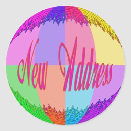 New Address colorful flowers Classic Round Sticker