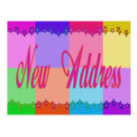 New Address colorful flowers Post Card