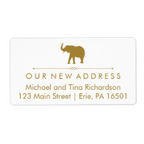 New Address Glam White and Gold Elephant Label