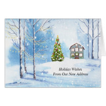 New Address Holiday Card, Christmas Season Card