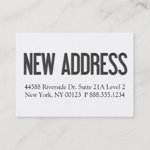 new address notification label business card