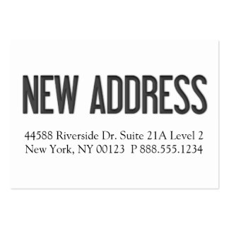 """""""New Address"""" Notification Label Large Business Cards (Pack Of 100)"""