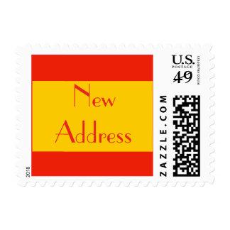 New Address orange color Postage Stamp