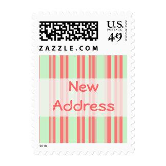 New Address orange green stripes Stamp