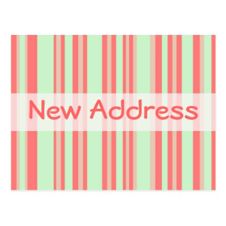 New Address orange green stripes Postcard